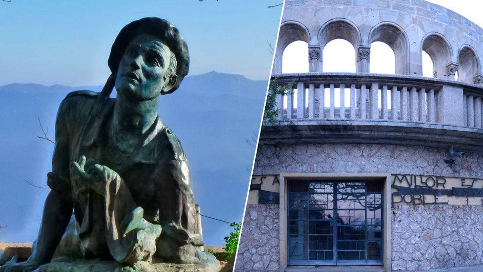 Foto: A la izquierda, la escultura en honor a los requetés, a la derecha la cripta.