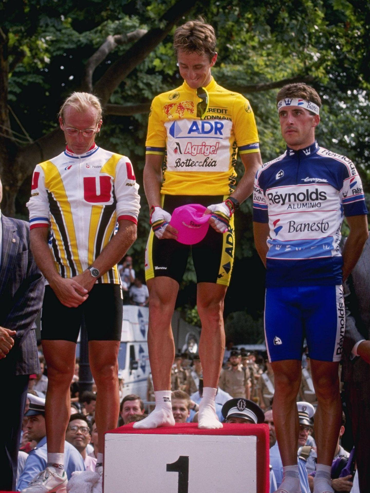 Perico, en el Tour 89 junto a otras dos leyendas: Greg LeMond y Laurent Fignon. (Getty)