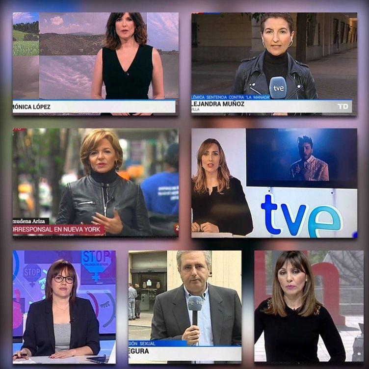 Foto: Redactores y presentadores de TVE visten de negro para visibilizar su protesta por el bloqueo en la renovación de la corporación. (Twitter Consejo de Informativos de TVE)