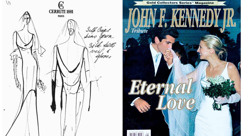 Boceto de su vestido de novia y portada en homenaje a Carolyn Bessette y John Kennedy Jr. (Getty / Cortesía)