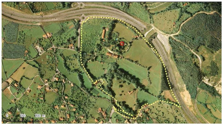 Vista aérea de los límites de la finca. (Archivo Patrimonio de Gijón)